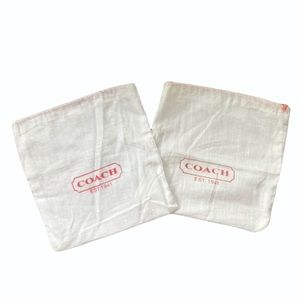 Two COACH White & Red Linen Drawstring Dust Bags